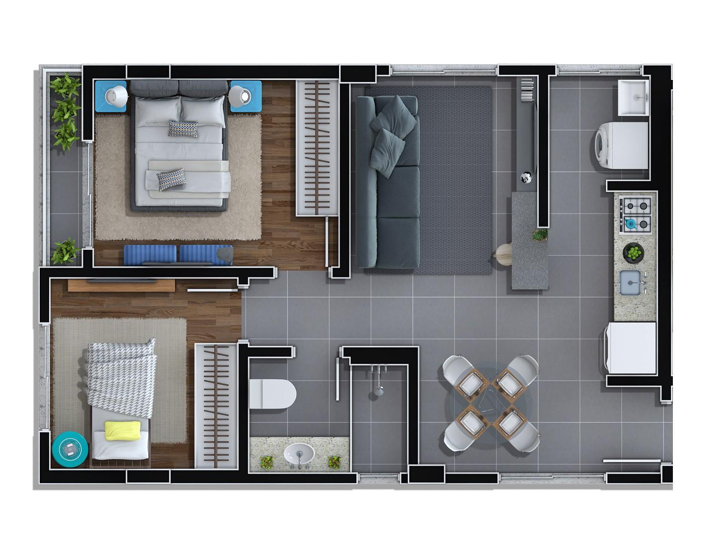 Planta 01 - 89,60m² | 2 quartos